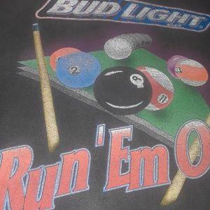 Vintage Shirts - Vintage 90s Bud light Run'Em Out Pool Tshirt SZ L